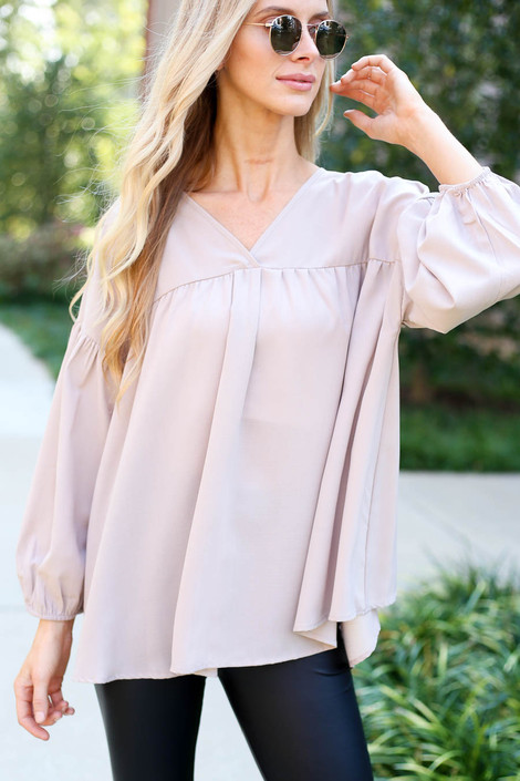 Taupe - V-Neck Balloon Sleeve Babydoll Blouse