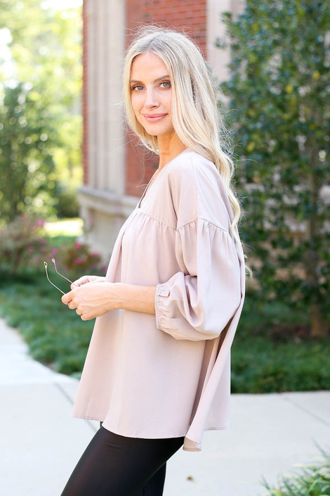 Taupe - V-Neck Balloon Sleeve Babydoll Blouse Side View