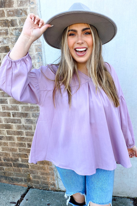 Lilac - V-Neck Balloon Sleeve Babydoll Blouse