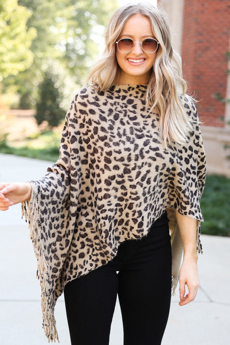 Dress Up Model wearing Taupe Leopard Fringe Poncho Front View