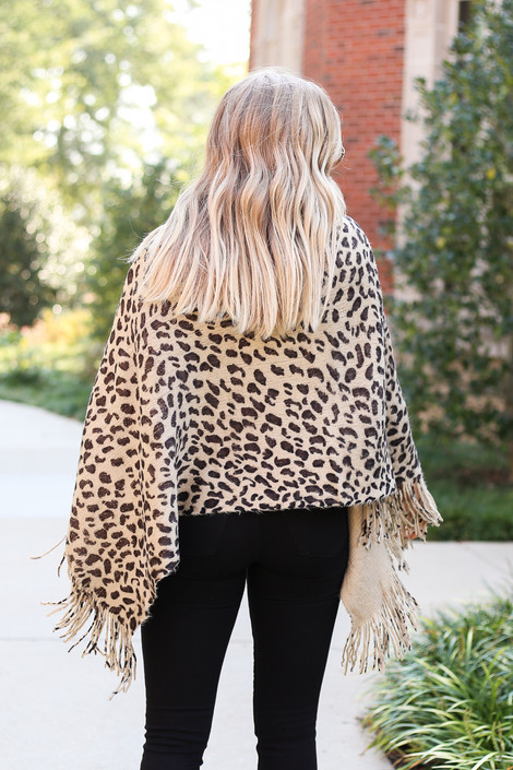 Dress Up Model wearing Taupe Leopard Fringe Poncho Back View
