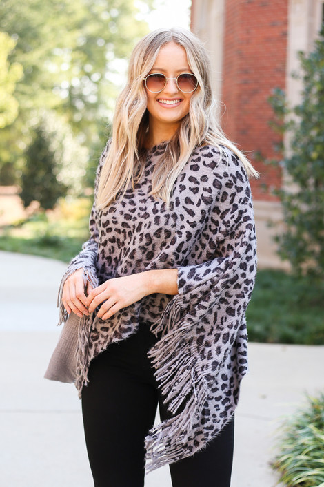 Grey - Leopard Fringe Poncho Front View
