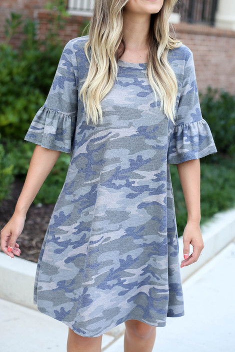 Dress Up Model wearing Camo French Terry Ruffle Sleeve Dress Detail View