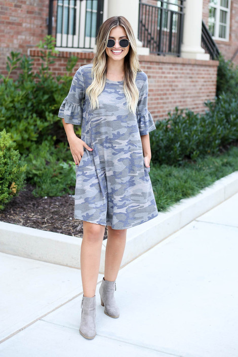 Dress Up Model wearing Camo French Terry Ruffle Sleeve Dress Full View