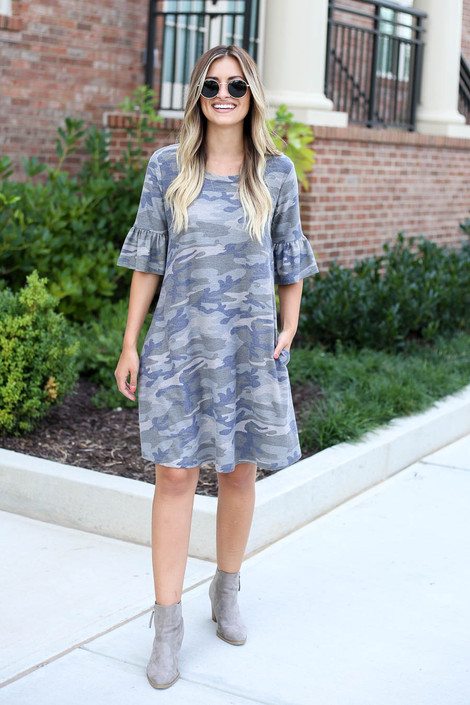 Camo - French Terry Ruffle Sleeve Dress