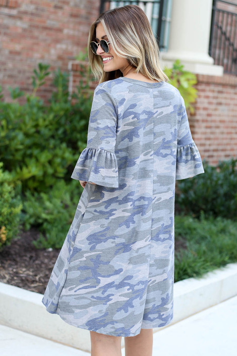 Dress Up Model wearing Camo French Terry Ruffle Sleeve Dress Back View