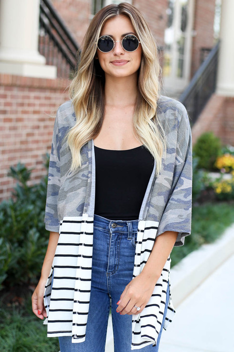 Camo - and Striped Color Block Side Split Cardigan