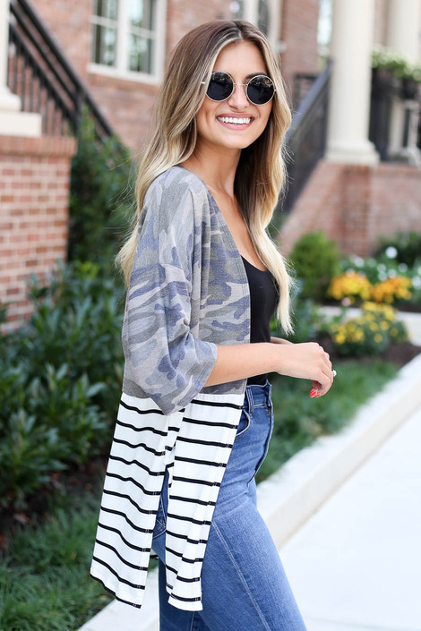 Camo - and Striped Color Block Side Split Cardigan Side View