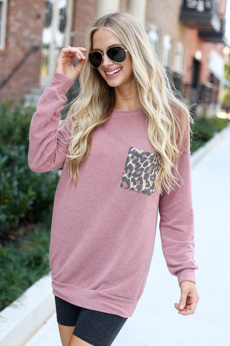 Dress Up Model wearing Mauve Lightweight Leopard Pocket Pullover Side View
