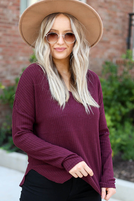 Burgundy - Waffle Knit Top