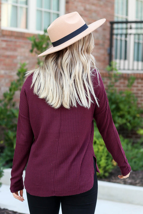 Dress Up Model wearing Burgundy Waffle Knit Top Back View