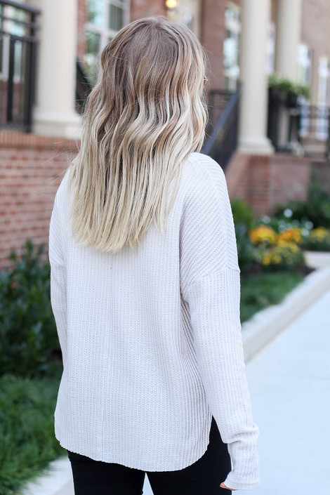 Grey - Waffle Knit Top Back View