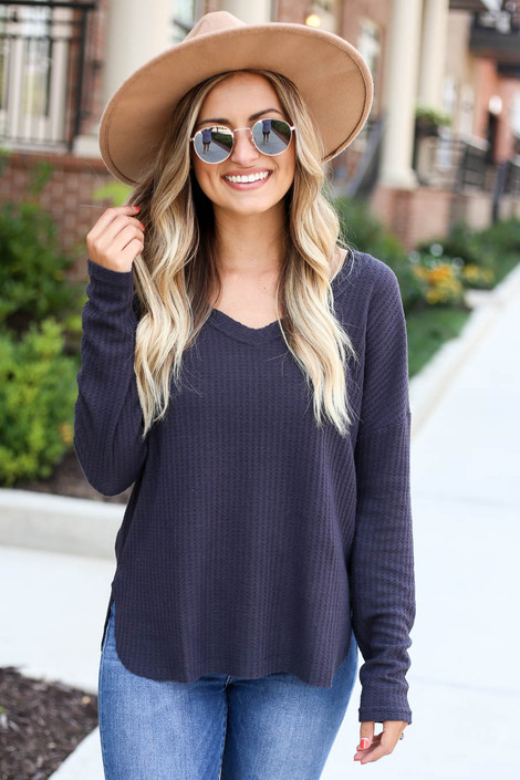 Charcoal - Waffle Knit Top