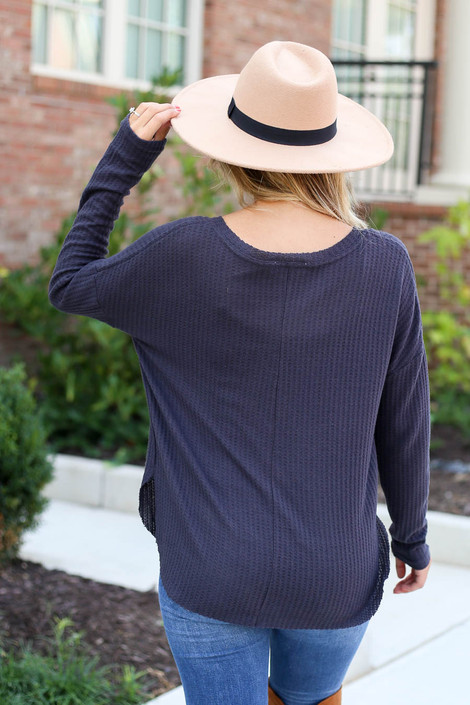 Dress Up Model wearing Charcoal Waffle Knit Top Back View