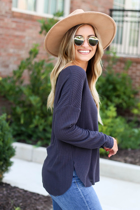 Charcoal - Waffle Knit Top Side View
