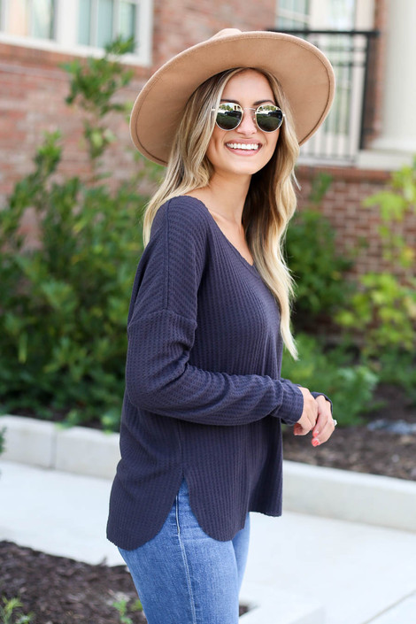 Dress Up Model wearing Charcoal Waffle Knit Top Side View