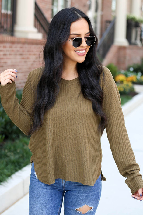 Olive - Waffle Knit Top