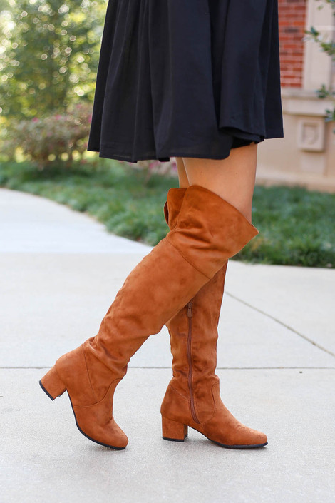 Dress Up Model wearing Tan Over the Knee Block Heel Boots Side View