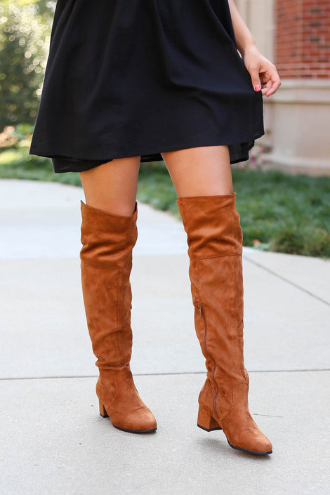 Tan - Over the Knee Block Heel Boots on Dress Up Model