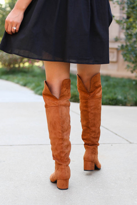 Dress Up Model wearing Tan Over the Knee Block Heel Boots Back View