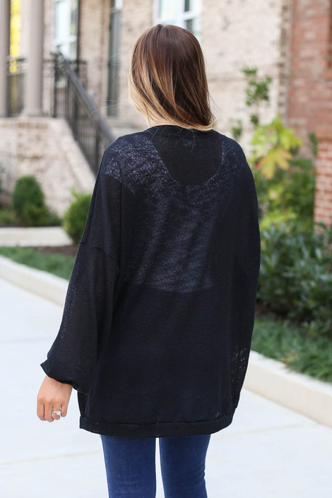 Black - Lightweight Open Knit Baggy Cardigan Back View