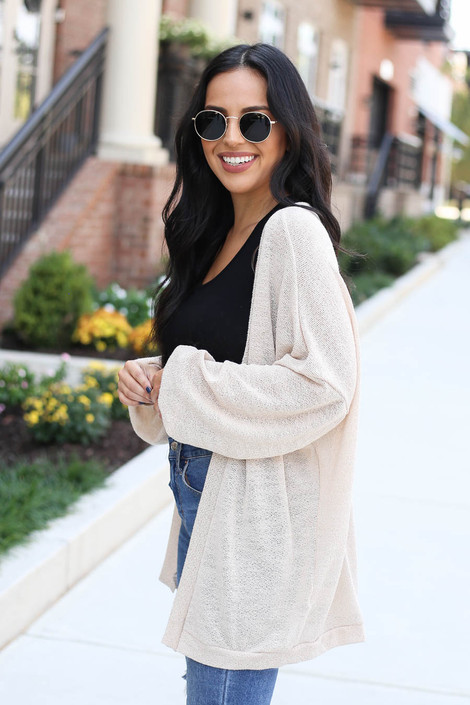 Taupe - Lightweight Open Knit Baggy Cardigan Side View