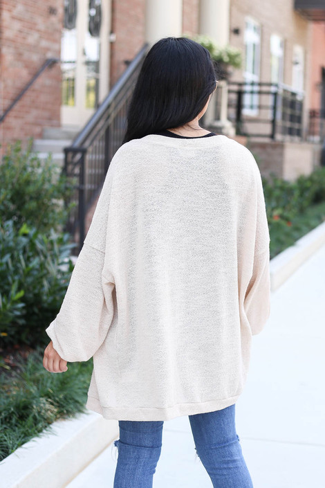 Dress Up Model wearing Taupe Lightweight Open Knit Baggy Cardigan Back View