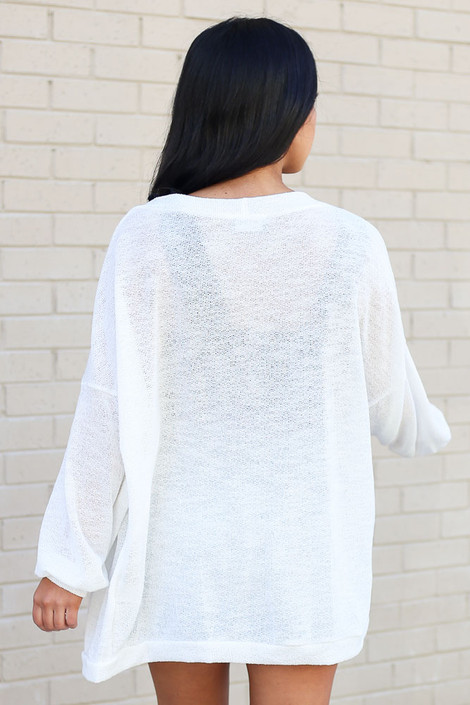 Ivory - Lightweight Open Knit Baggy Cardigan
