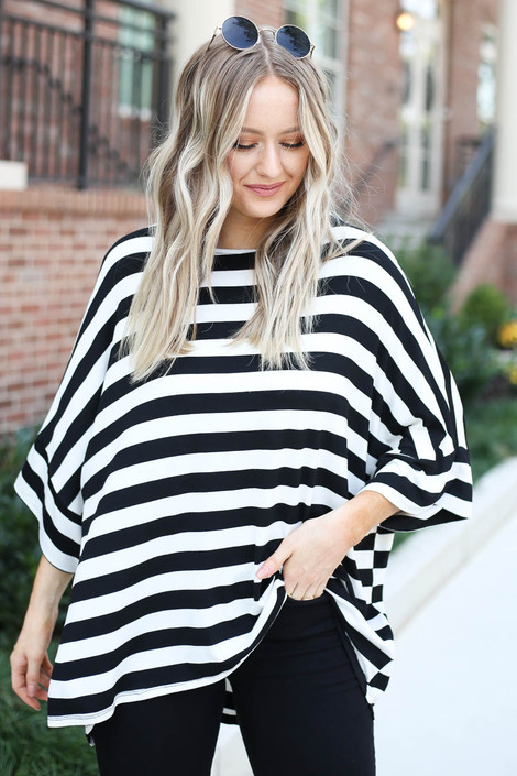 Dress Up Model wearing White and Black Striped Oversized Tee
