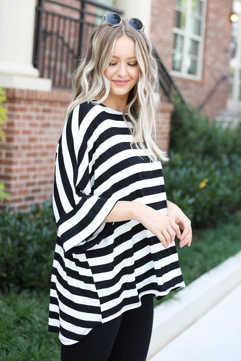 Dress Up Model wearing White and Black Striped Oversized Tee Side View