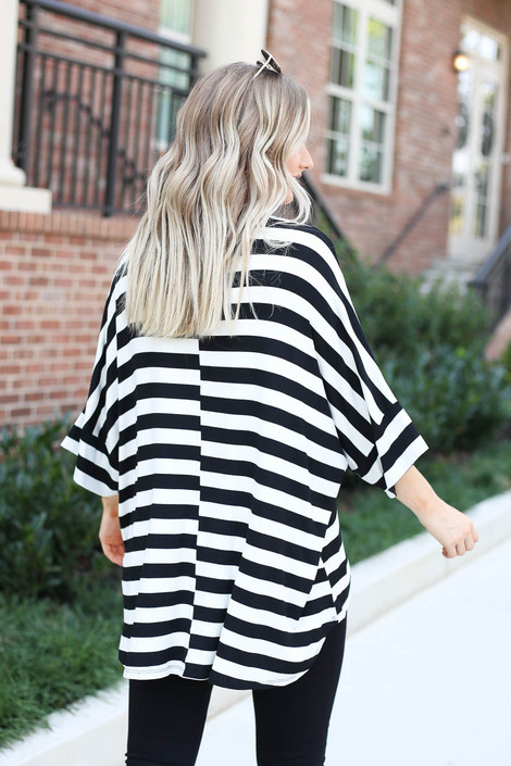 White - and Black Striped Oversized Tee Back View