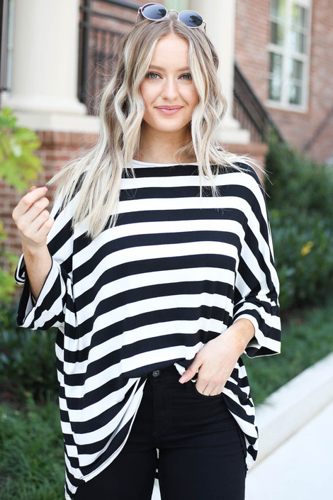 Dress Up Model wearing White and Black Striped Oversized Tee Front View
