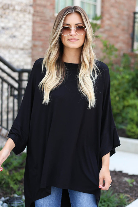 Dress Up Model wearing Black Oversized Tunic Tee Front View