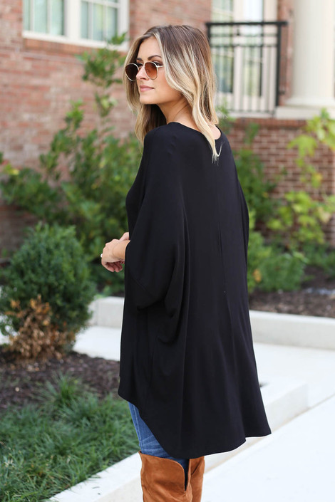 Black - Oversized Tunic Tee Back View