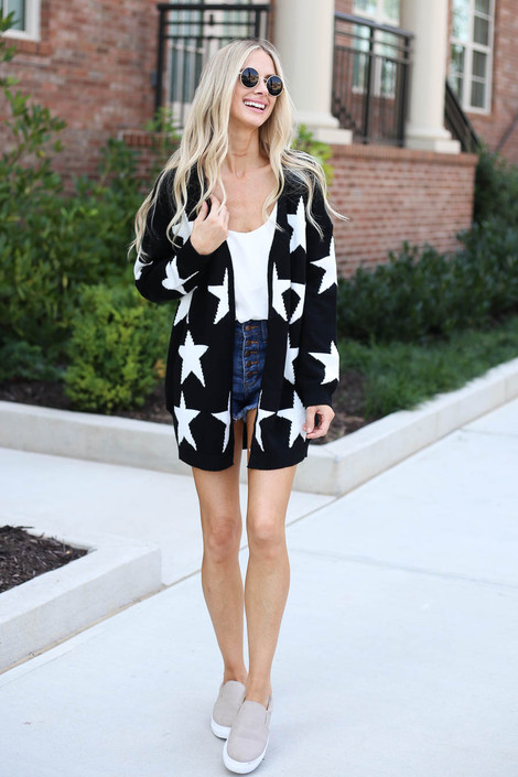 Dress Up Model wearing Black Star Knit Baggy Chunky Cardigan Full View