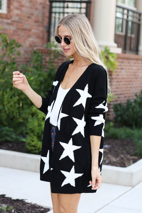 Dress Up Model wearing Black Star Knit Baggy Chunky Cardigan Side View