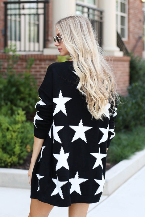 Dress Up Model wearing Black Star Knit Baggy Chunky Cardigan Back View