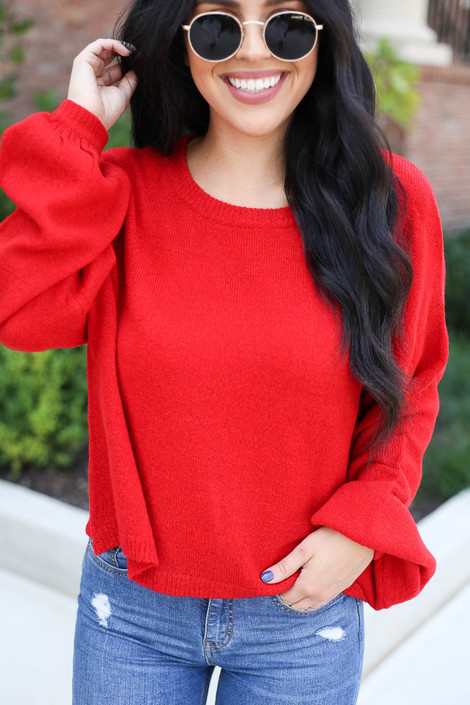 Dress Up Model wearing Red Balloon Sleeve Knit Sweater Detail View