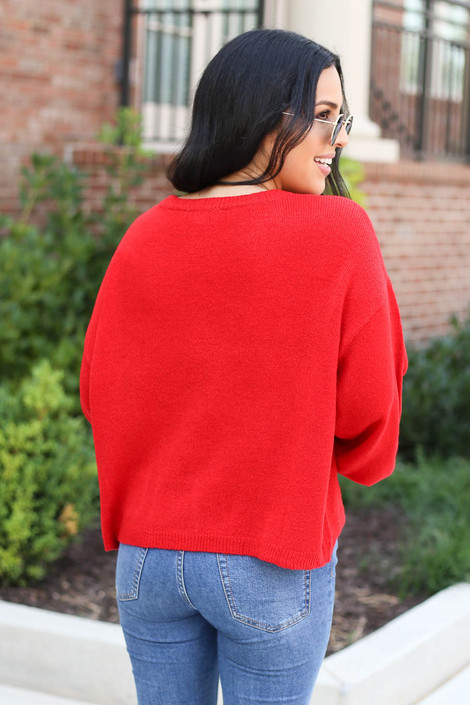 Red - Balloon Sleeve Sweater Back View