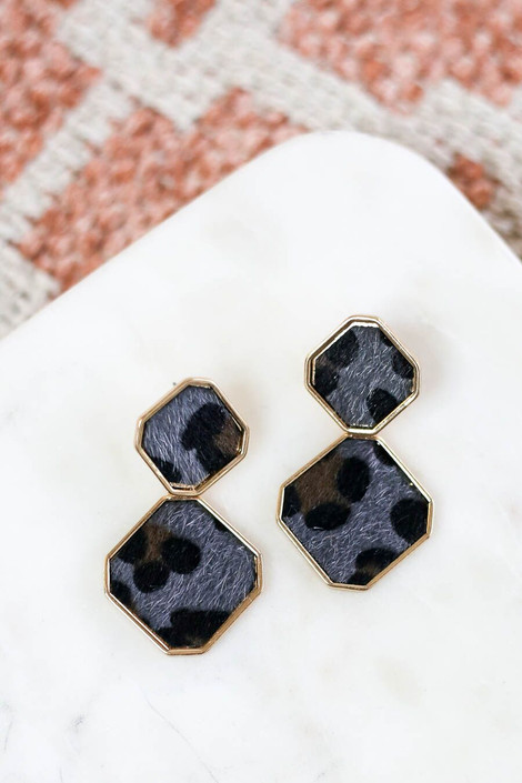 Leopard - Grey Leopard statement earrings