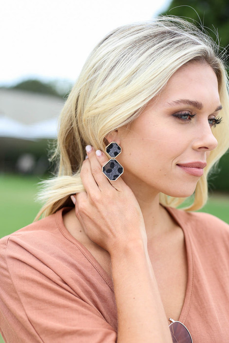 Caroline Leopard Geometric Earrings