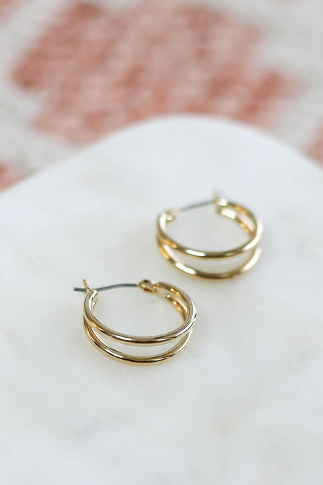 Gold - Dainty Double Hoop Flat Lay