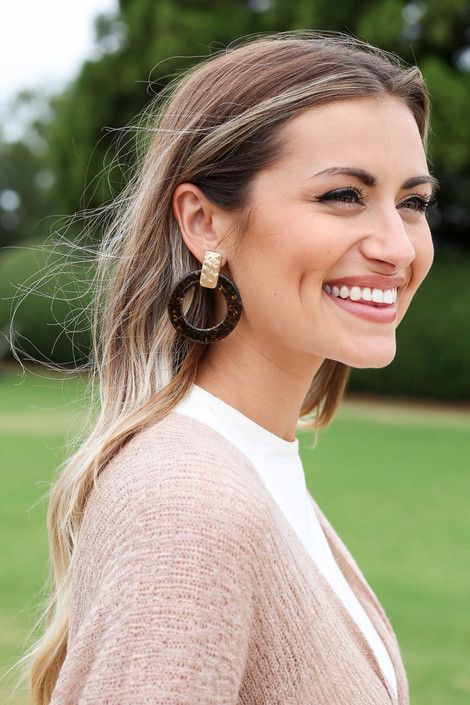 Taupe - Statement Acrylic Earrings