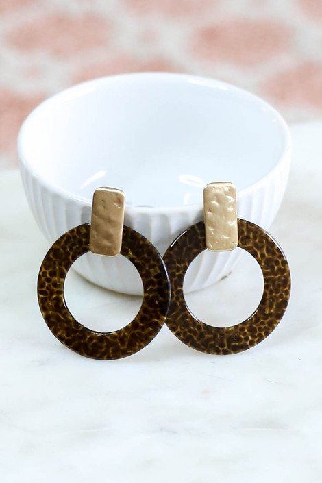Taupe - Statement Acrylic Earrings Product Photo