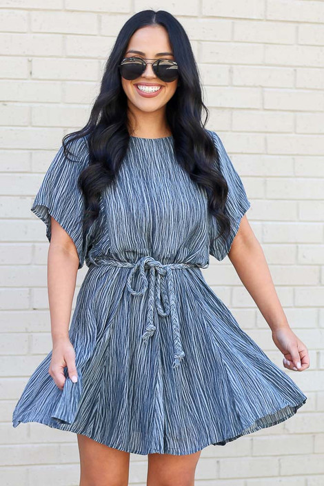 Grey - Ruffle Striped Rope Tie Dress