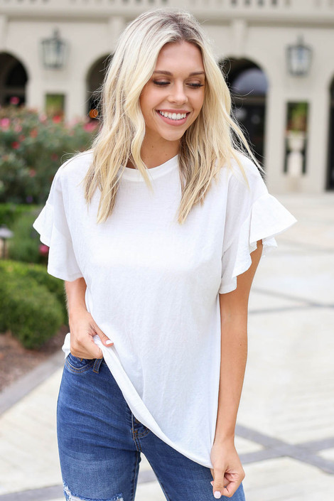 Ivory - Ruffle Sleeve Crepe Knit Top