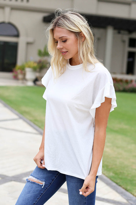 Ivory - Ruffle Sleeve Crepe Knit Top Side View