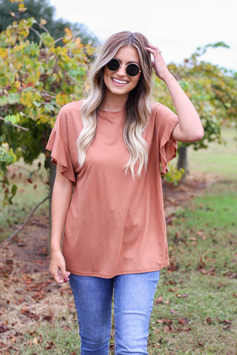 Rust - Ruffle Sleeve Crepe Knit Top Front View