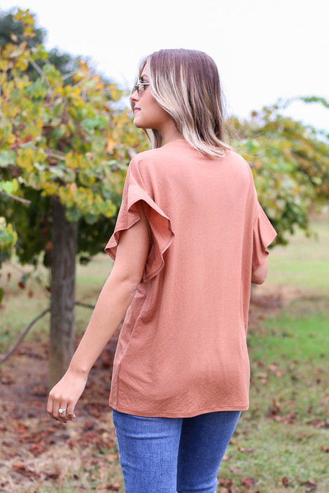 Rust - Ruffle Sleeve Crepe Knit Top Back View