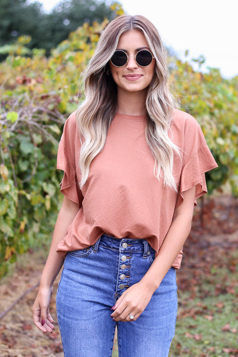 Rust - Ruffle Sleeve Crepe Knit Top Tucked Into Jeans